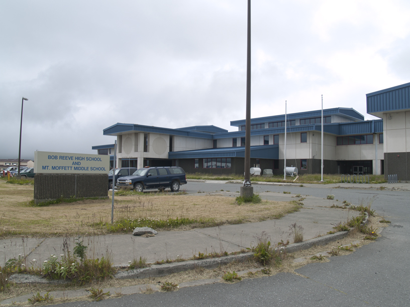 Adak's public offices, school and health clinic are housed in one building to conserve utilities.
