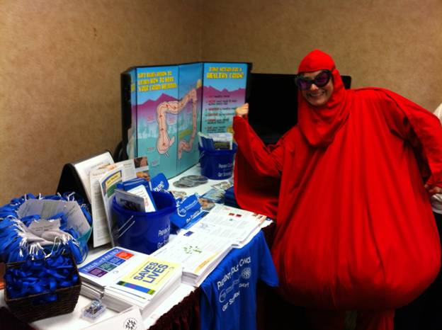 Polyp Man makes an appearance at a community health event. (Photo courtesy of Diana Redwood)